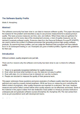 Software Quality Profile