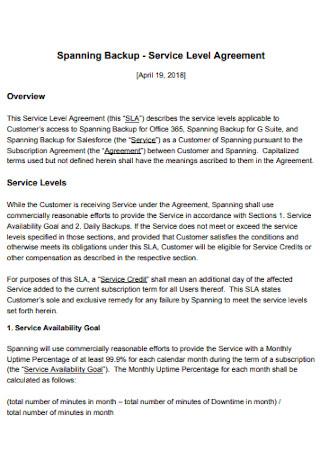 Spanning Backup Service Level Agreement