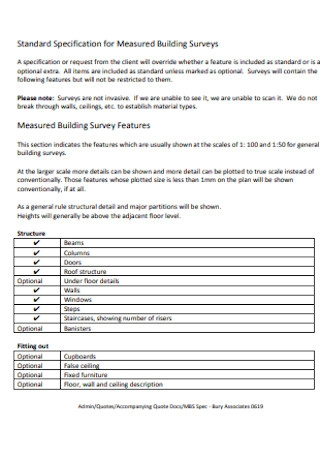 Specification for Measured Building Survey
