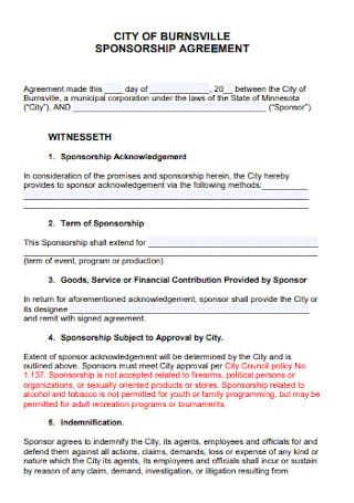 Sponsorship Acknowledgement Agreement