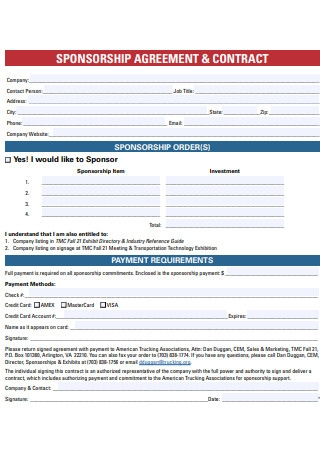 Sponsorship Agreement and Contract
