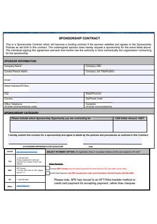 Sponsorship Contract Example