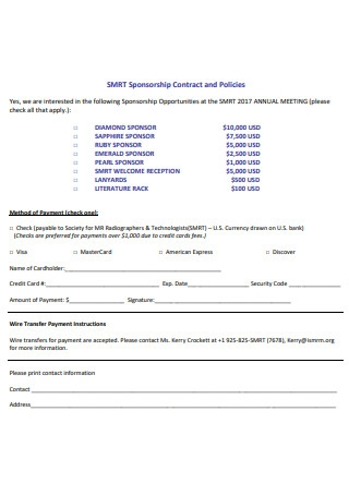 Sponsorship Contract and Policies