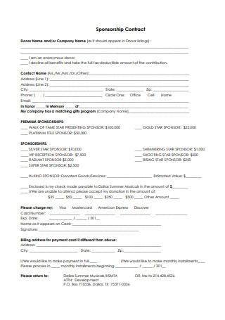 Sponsorship Contract in PDF