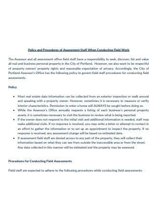 Staff Assessment Policy and Procedure