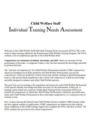 Staff Individual Training Needs Assessment