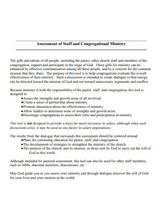 Staff and Ministry Assessment