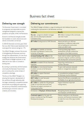 Standard Business Fact Sheet