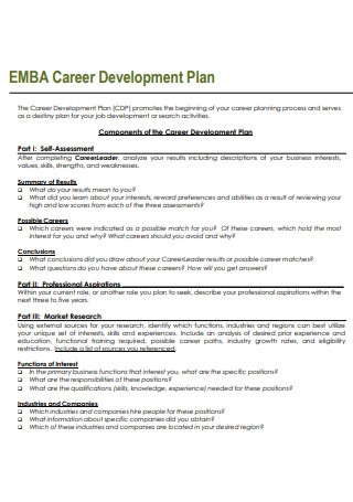 Standard Career Development Plan