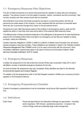 Standard Emergency Response Plan