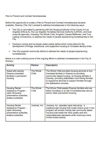Standard Homeless Shelter Proposal