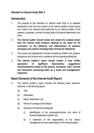 Standard Internal Audit Report