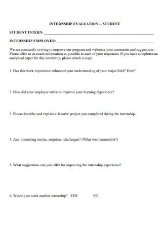 Standard Internship Evaluation