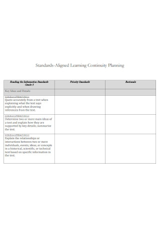 Standard Learning Continuity Plan