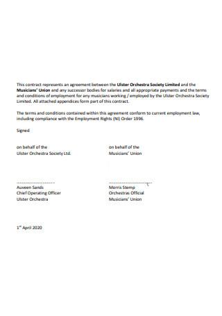 Standard Musician Contract