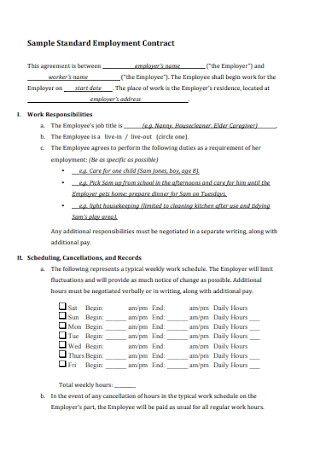 Standard Nanny Employment Contract