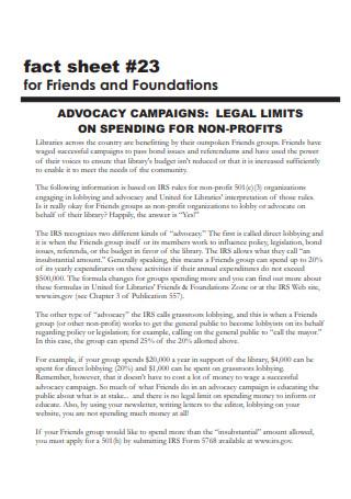 Standard Non Profit Fact Sheet