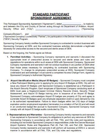 Standard Participant Sponsorship Agreement