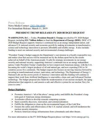 Standard Press Release Fact Sheet