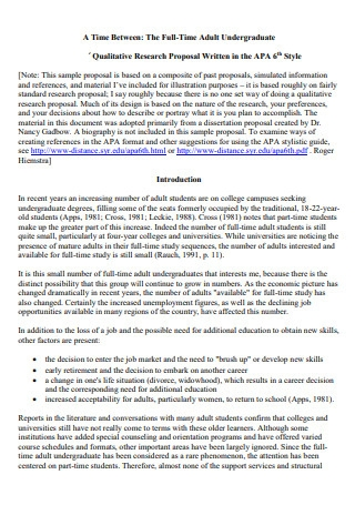 Standard Qualitative Research Proposal