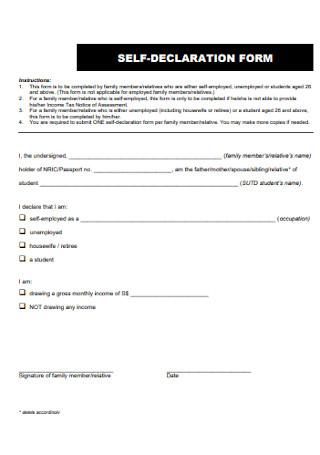 Standard Self Declaration Form