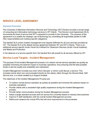 Standard Service Level Agreement