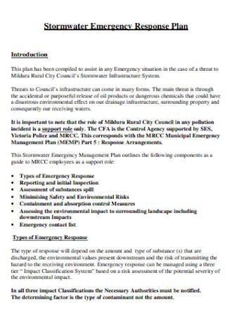 Stormwater Emergency Response Plan