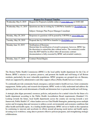 Strategic Plan Project Manager Consultant Proposal