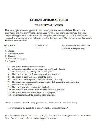 Student Appraisal Coach Evaluation