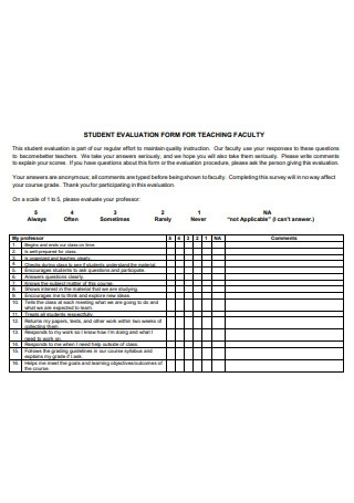 Student Evaluation Form For Teaching Faculty