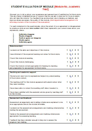 Student Evaluation of Module