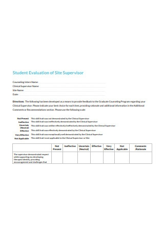 Student Evaluation of Site Supervisor