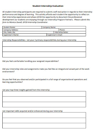 Student Internship Evaluation