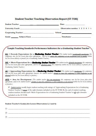 Student Teacher Teaching Observation Report