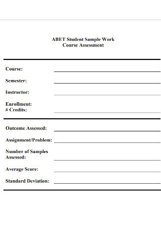 Student Work Course Assessment