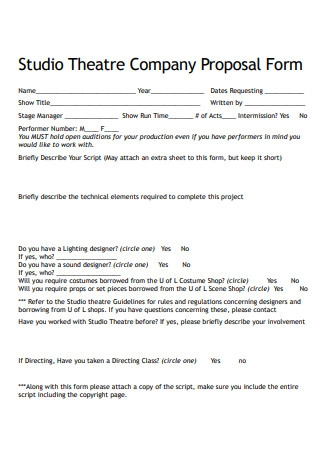 Studio Theatre Company Proposal Form