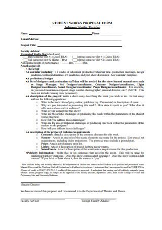 Studio Theatre Proposal Form