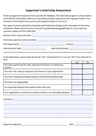 Supervisor's Internship Assessment