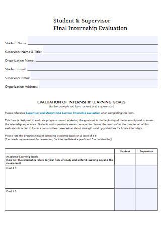 Supervisor Final Internship Evaluation
