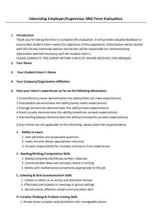 Supervisor Mid‐Term Internship Evaluation