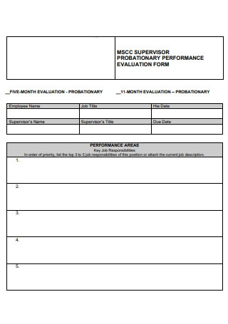 Supervisor Probationary Performance Evaluation Form