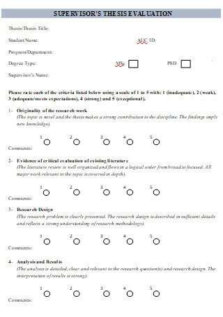 Supervisor Thesis Evaluation