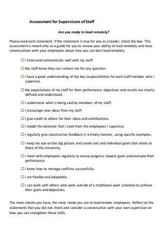 Supervisors of Staff Assessment