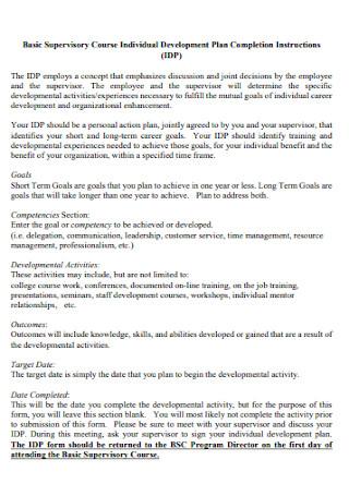 Supervisory Course Individual Development Plan