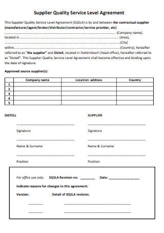 Supplier Quality Service Level Agreement