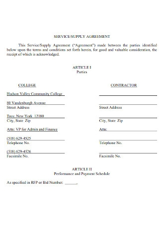 Supply Service Agreement
