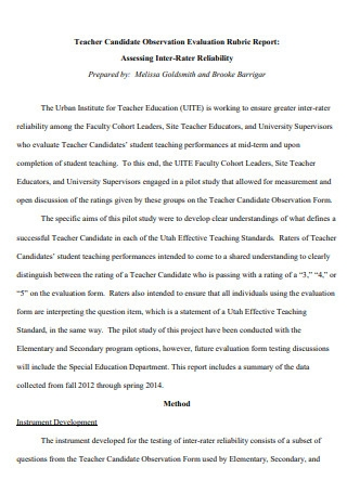 Teacher Candidate Observation Evaluation Report