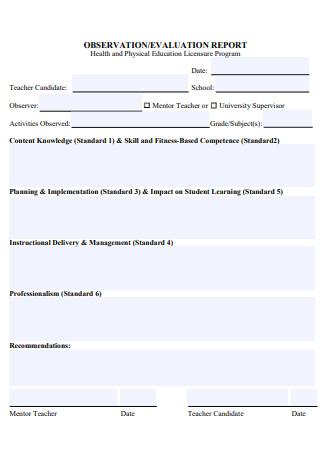 Teacher Observation Evaluation Report