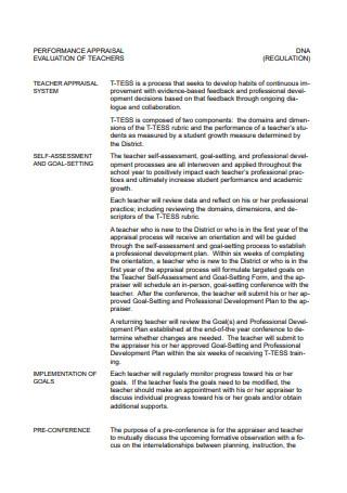 Teachers Performance Appraisal Evaluation