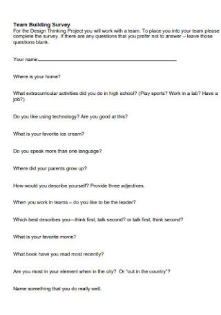 Team Building Survey